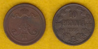 Russian Empire Grand Duchy Of Finland 10 Pennia 1866 --- Pltb