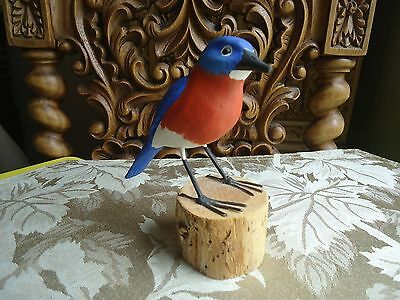 Original  Blue Bird Hand Carved Wood Hand Painted Signed collectible