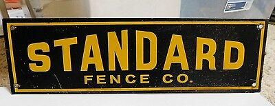 Vintage Early 1950's Porcelain Standard Fence Co Sign Advertising Ad