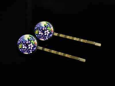 Pair Round Wood Cabochon Hairpin with Laser Cut Pattern, Antique Bronze