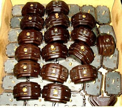 47- OLD STOCK DECO HUPPERT USA Brown Bakelite Surface Mount TRIPLE Gang Outlets