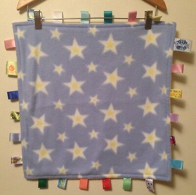 "Big Taggies Blue White Yellow Baby Star Baby Security Blanket 18x17"" Fleece"