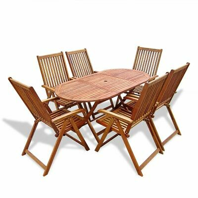 7 Piece Outdoor Dining Oval-shaped Table and Folding Chairs Furniture Set Wood