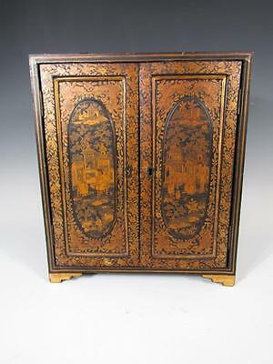 ANTIQUE 1800s CHINESE GOLD GILT CHINOISERIE BLACK LACQUER JEWELRY CABINET