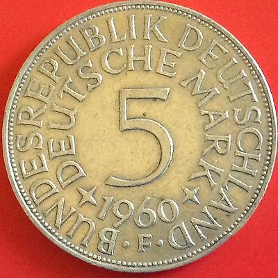 1960 -  F  Germany Silver 5 Mark Coin