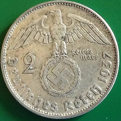 1937 A  Germany 2 Reichsmark Silver Coin