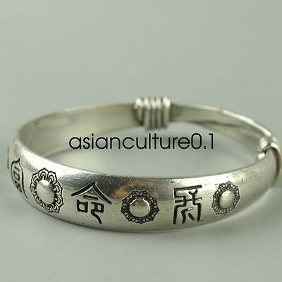 Old Hand-carved Tibet Tibetan silver bracelet Peace LMQQ79