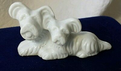 VINTAGE JAPAN Skye Terrier and Pup FIGURINE White PORCELAIN Detailed Dog Breed