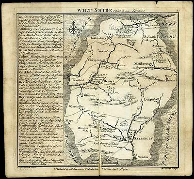 Vintage Antique 1741 Map of Wilt Shire England