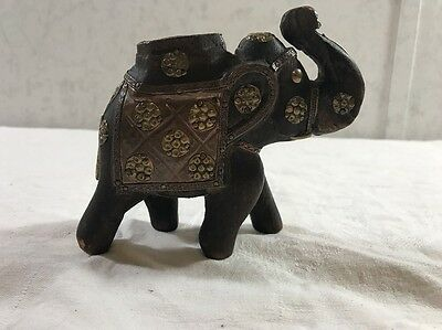 "Vintage Folk Art Elephant Wood Brass 4.5"" x 5"""