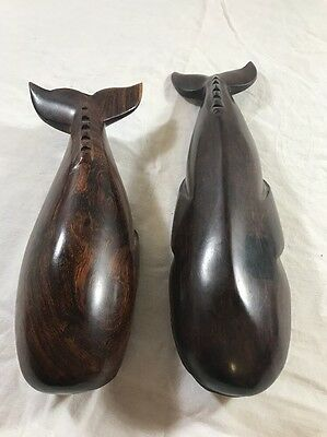 """Pair of Ironwood Carved Whales 12 3/4"""" and 10"""""""