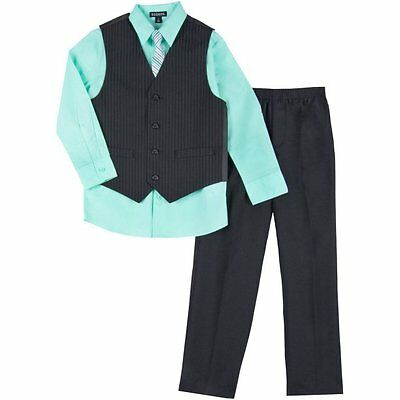 NWT George Boy's Size 4 4pc Suit Special Occasion Dress Set Pinstripe Green