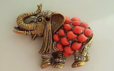Vintage Elephant Rhinestone Jeweled Brooch Pin Gold Tone, Coral Trunk Up Brass