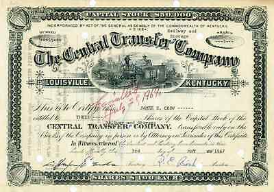 1967 Central Transfer Railway & Storage Co Stock Certificate