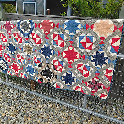 Big Antique Red, White, Blue Calico STAR Quilt  Hand Sewn Quilt