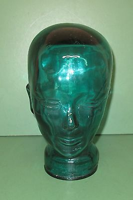 Vintage Blue Green Glass Mannequin Head Wig Hat Display Made in Spain