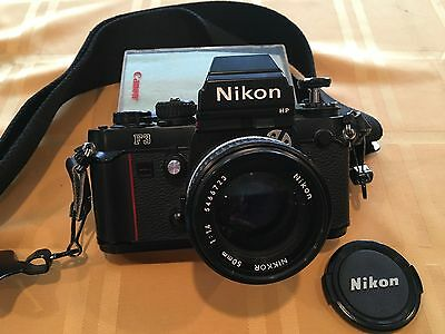 NICE Nikon F3 HP 35mm SLR Film Camera with 50 mm lens/ flash/ strap/ cases