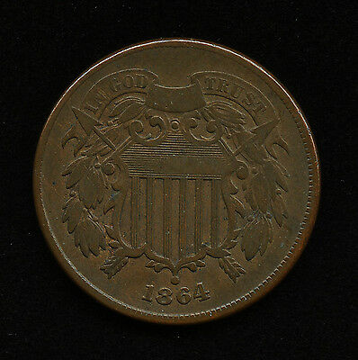 1864 2c US TWO CENT PIECE LARGE MOTTO CIVIL WAR 1st YEAR TYPE COIN F FINE DETAIL
