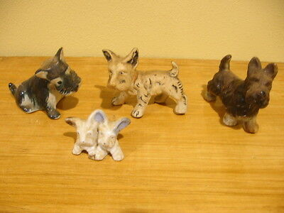 4 Vintage Schnauzer Dog Porcelain Figurines