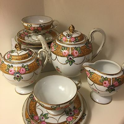 Antique Porcelain Hand Painted in Japan Nippon Tea Set for Two (early Noritake?)