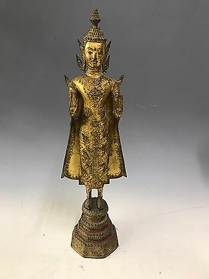 A Very Fine Antique Thai Gilded Bronze Standing Figure On Base