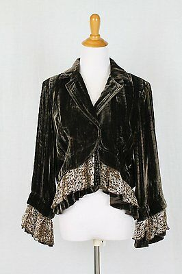 Vintage BEREK by TAKAKO SAKON Crushed Brown Velvet Ruffled Bohemian Jacket  L
