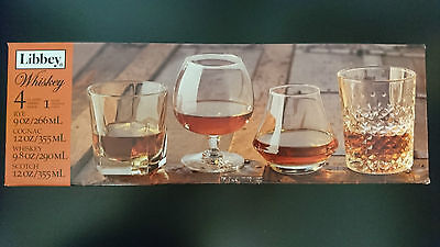 NEW RARE Libbey Perfect Whiskey Glass Set 4pc - Rye Cognac Whiskey Scotch