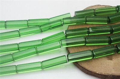 DIY Wholesale 15Pcs Green Cuboid Crafts Crystal Glass Beads Spacer 6*20mm ZD22