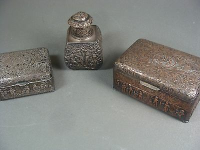 Antique Dutch Silver Plate on Copper  Ornate Wood Lined Boxes & Bottle