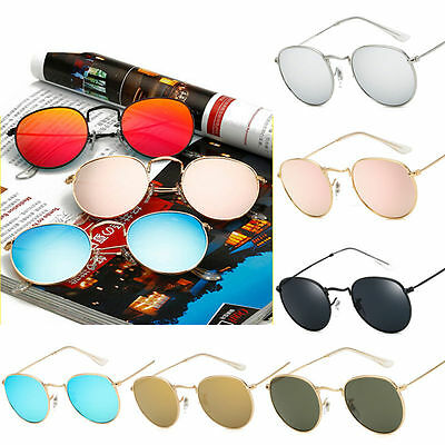Round Retro Women Men Metal Frame Sunglasses Glasses Vintage Outdoor Eyewear