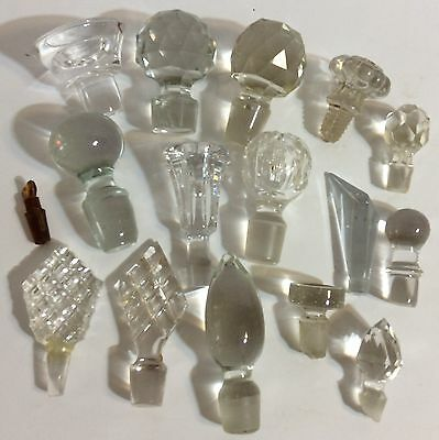 Vintage Glass/Cut Crystal Bottle Stoppers Lot of 16