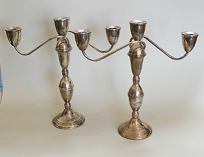 Pair of Convertable Duchin Sterling Candle Sticks Candelabra
