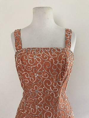 Amazing True Vintage 1950s 50s Apricot Rhinestone Embroidered Dress