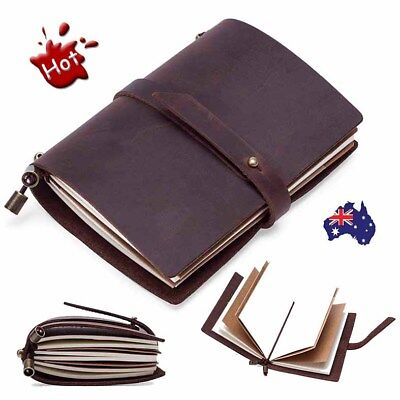 Retro Hand Made Genuine Leather Travel Diary Journals Notebooks Blank Diaries