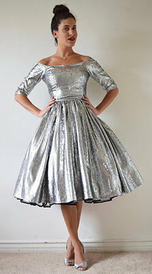 Vintage 50s 60s Metallic Silver New Look Party Dress (size xs, small)
