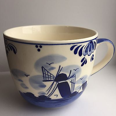Hand Painted Delft White And Blue D.A.I.C Mug Cup - Windmill and Floral Design
