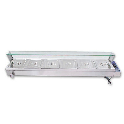 "67"" Kitchen 6-Pan Food Warmer Bain Marie Restaurant Steam Table"