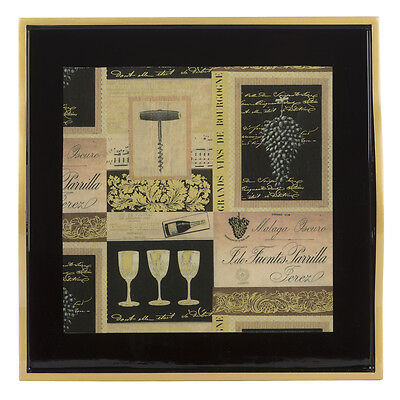 NEW Whitelaw & Newton Black & Gold Wine Small Square Tray
