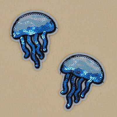 2pcs Sequin Jellyfish Embroidered Iron on Sew Patch Badge Bag Dress Applique
