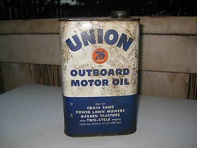 Vintage Union 76 Outboard Motor Oil Tin Metal Can