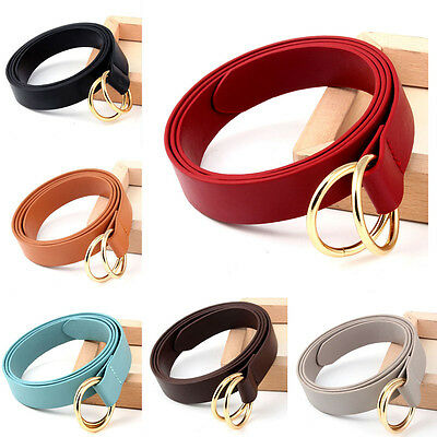 Women Fashion Glod Metal Double Round Buckle Belt Lady Faux Leather Skinny Belts