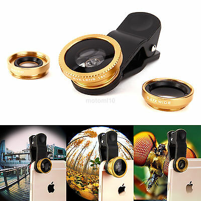 3 in 1 Fish Eye+Wide Angle+Macro Clip On Camera Lens Set for Smart Phone Tablet