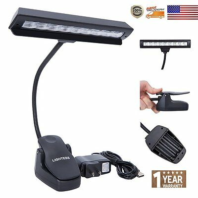 9 LED AC + USB + Battery Stand Light Clip On Bed Music Reading Book Desk Lamp
