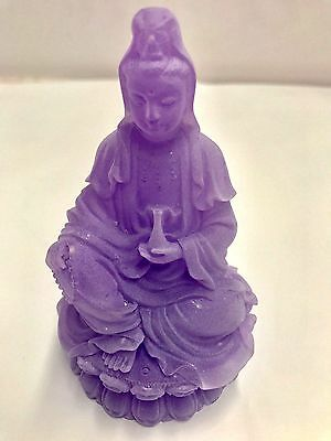 Purple Frosted Quan Yin Goddess of Mercy & Compassion Figurine 95mm