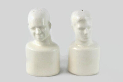 Vtg Head Bust Salt and Pepper Shakers Rubber Stoppers White Pottery
