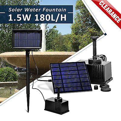 Solar Panel Powered Fountain Garden Pool Pond Submersible Water Pump Features 7V
