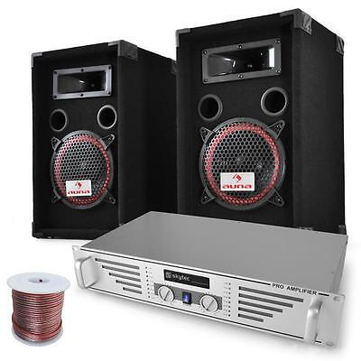 "Beginner Dj Pa System 8"" Speakers Amplifier Set 1000W Cables Rack Mount Amp"