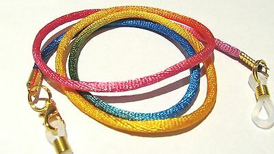 "Rainbow Gold Toned Eye / sun Glasses  lanyard 24"" Satin Braided Nylon Cord"