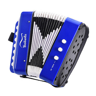 7 Keys Bass Accordian Blue Musicial Instruments for Kids Education Play Toy Gift