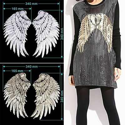 1Pair Wings Sequins Iron-On Embroidered Patch Applique Motif Garment Decor Top